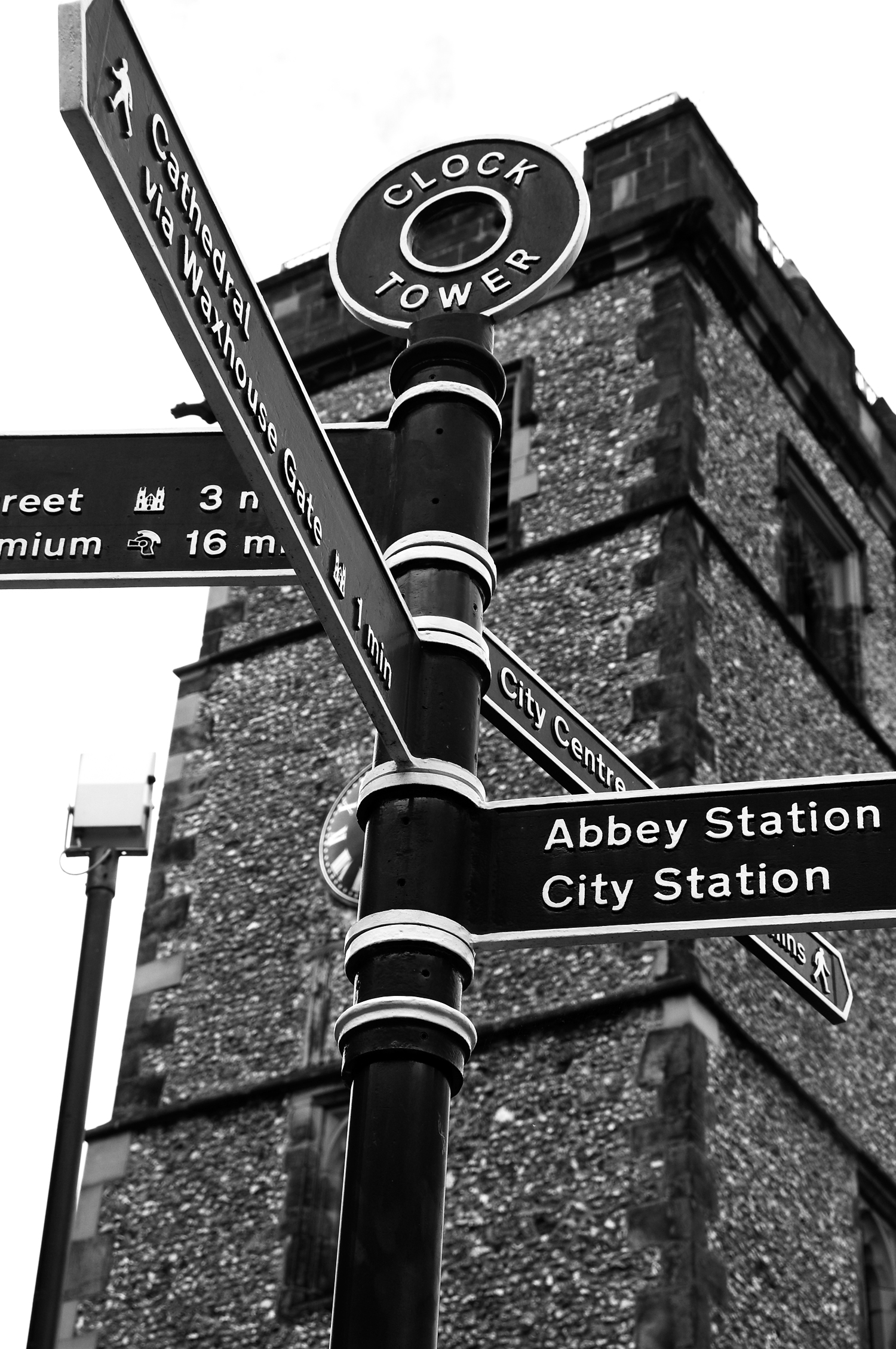 St Albans Clock Tower in Black and White