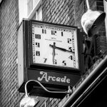 Photograph in various sixes of the Arcade clock in St Albans.