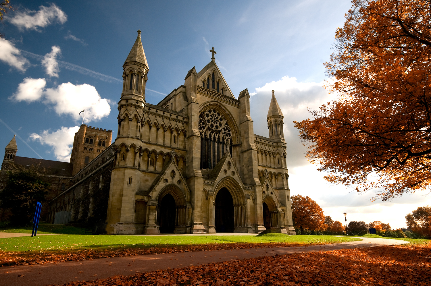 St Albans Cathedral in Autumn