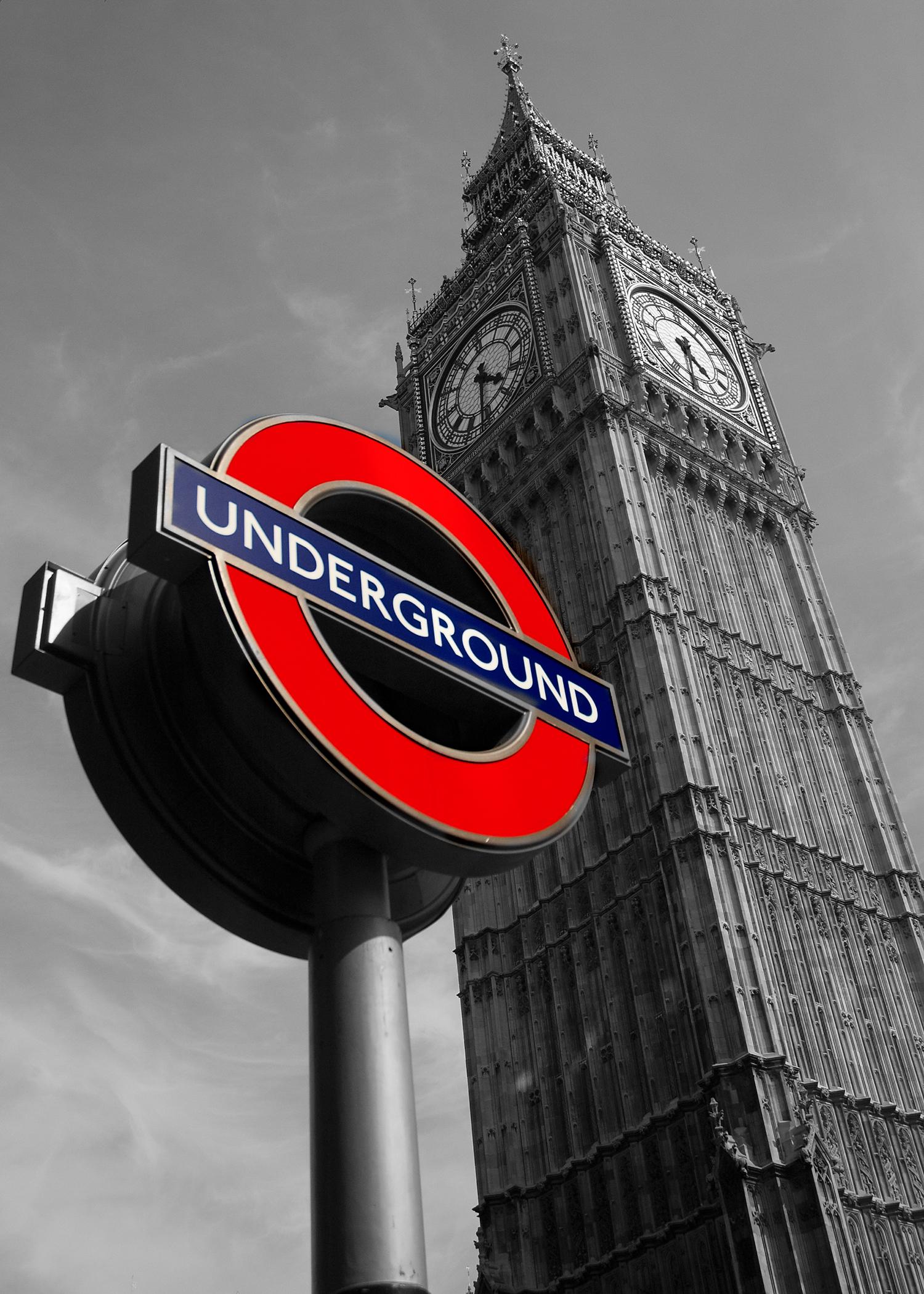 Big Ben Red Underground Sign