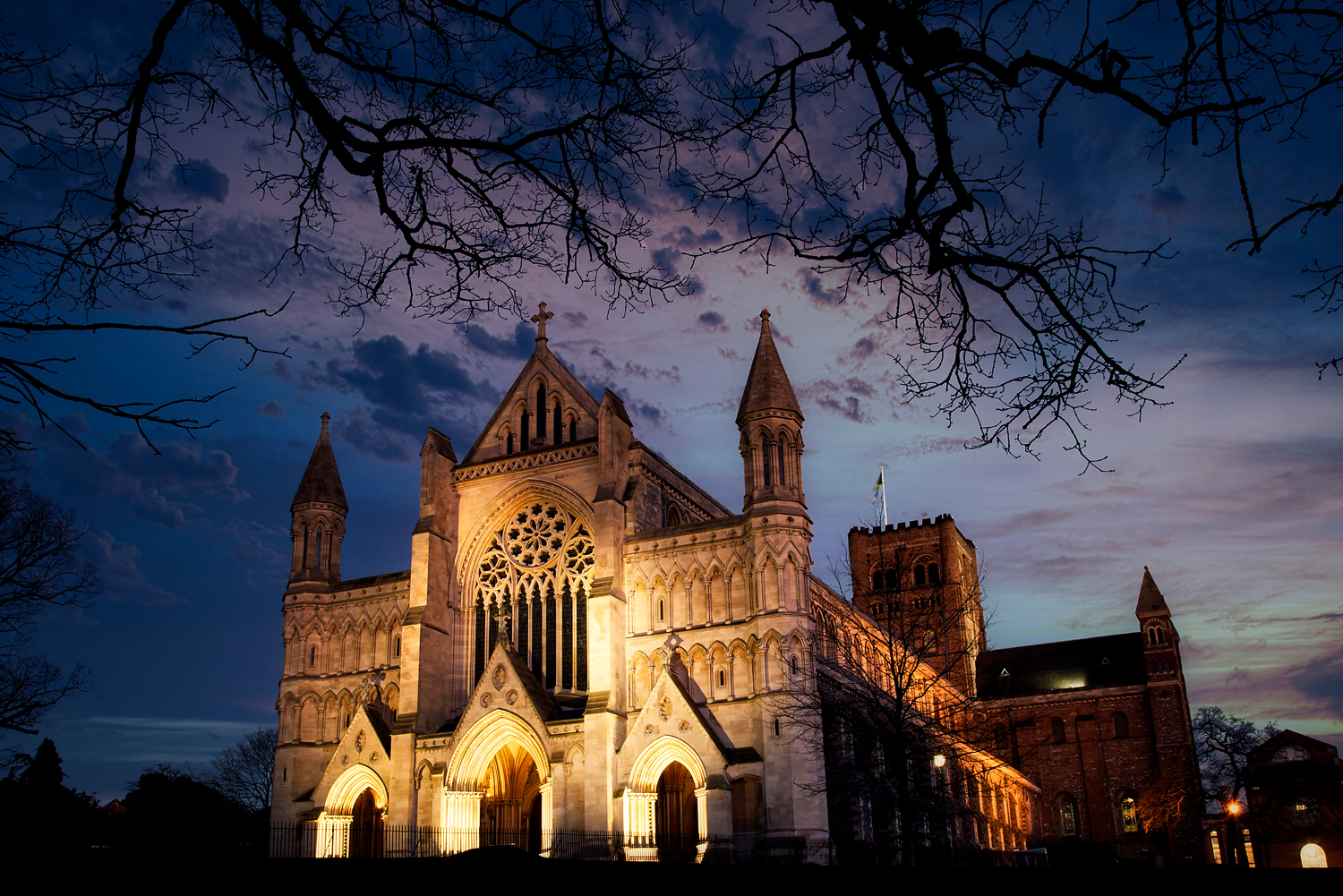 St Albans Cathedral at night